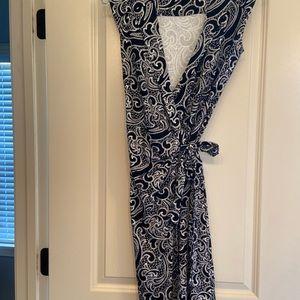 Black and white wrap dress